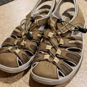 PRIVO OLIVE GREEN AND BROWN SANDALS SIZE 8.5